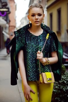 emerald green & yellow #lovethisoutfit #lovethiscolours