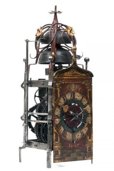 A gothic iron clock with foliot, South Germany, dated 1607.