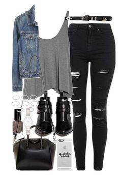 waterfall style tank top in pale grey ripped black skinny jeans cropped blue denim jacket patent leather ankle boots in black grunge girl wardrobe black leather bag and a. Mode Outfits, Jean Outfits, Fall Outfits, Casual Outfits, Fashion Outfits, Style Fashion, Tank Top Outfits, Formal Outfits, Casual Jeans