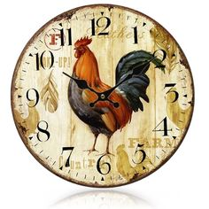 Fair price Primitive European-styled Country Rooster Wood Wall Mounted Clock Vintage relojes pared  relogio de parede Home Decoration  just only $16.98 with free shipping worldwide  #clocks Plese click on picture to see our special price for you