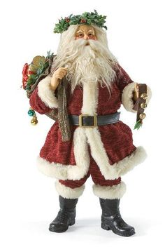 Wearing a chenille suit, this 14 inch antiqued Santa holds gold tone jingle bells and a bag of gifts. Bells of Yore Santa dons a wreath crown showing his festive spirit during the holiday season. Vintage Santa Claus, Vintage Santas, Father Christmas, Santa Christmas, Christmas Time, Santa Claus Figure, Santa Clause, St Claus, Santa Ho Ho Ho