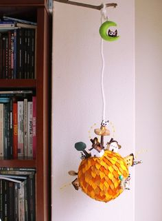 Yellow Planet. Mobile ornament. Children Room decor  by Intres, $95.00