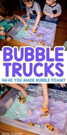 Bubble Trucks Sensory Bin with Soap Foam. Bubble Trucks Sensory Activity Have you made bubble foam yet? Bubble foam is amazing and bubble trucks are even better! Try adding construction vehicles to this fun sensory bin from Busy Toddler. Toddler Learning Activities, Infant Activities, Kids Learning, Sensory Activities For Preschoolers, Activities For 4 Year Olds, Outdoor Activities For Toddlers, Art Projects For Toddlers, Rainy Day Activities For Kids, Creative Activities For Children