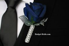 Grooms Flowers to Wear Wedding Flower Boutonniere in navy and silver