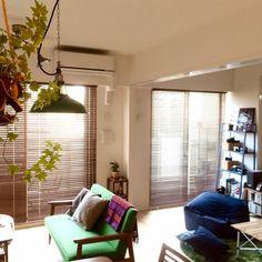 someday-5さんの、部屋全体,観葉植物,無印良品,IKEA,二人暮らし,カリモク60,ペンダントライト,ウッドブラインド,体にフィットするソファ,コール…