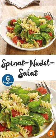 Spinat-Nudel-Salat | 6 SmartPoints/Portion, Weight Watchers, fertig in 20 min.