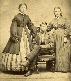 CIVIL WAR Era 1860s WORKING Class FAMILY Portrait PERIOD FASHION Dress TAX STAMP