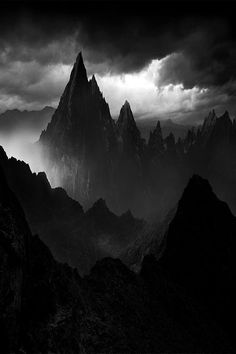 black and white, creepy, dark, fog, landscape, mountain, nature, other, photography