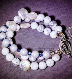 Howlite Pearl Multi Strand Bracelet