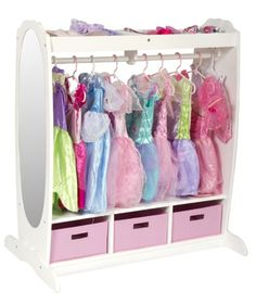 Save space with this storage center that has a full length mirror already attached, extra storage space above, and baskets below! Princess Dress Up Storage Center White, $199.00