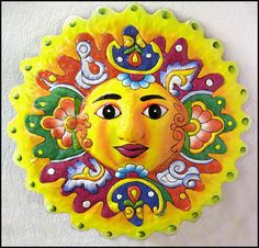 "Sun Garden Art - Madame Sunshine - Brightly Hand Painted Metal - -  24"" x 24"" - Hand cut from recycled steel drums in Haiti @ Tropic Decor"