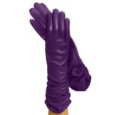 Unique Violet Long Sexy Molla Spring Silklined Italian Leather Gloves | Solo Classe