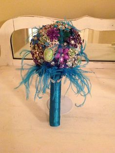 Brooch Jeweled Peacock Bouquet