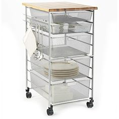 Platinum Elfa Mesh Kitchen Cart