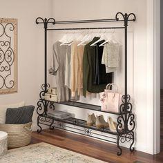 Lark Manor W Mouron Garment Rack Hanging Wardrobe, Wardrobe Rack, How To Store Scarves, Storing Scarves, Portable Wardrobe, Garment Racks, Iron Furniture, Closet System, Closet Storage