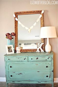 totally le francais i want in there! ooh lala: teal, gold, and white. Teal Dresser, Dresser Mirror, Painted Furniture, Painted Dressers, Refinished Furniture, Funky Furniture, Furniture Redo, Plywood Furniture, Furniture Design