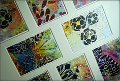 Atc Cards, Card Tags, I Card, Gel Press, Artist Trading Cards, Poppy, Stencils, September, Gallery Wall