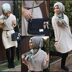 Knit dress with big collar and special wrapped hijab - check out: Esma Modesty Fashion, Hijab Fashion, Fashion Muslimah, Modest Outfits, Modest Clothing, Clothing Ideas, How To Wear Scarves, Hijab Outfit, Muslim Women