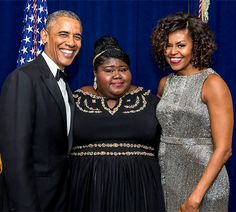 First Lady Michelle Obama and President Barack Obama pose with Gabourey Sidibe at the White House Correspondents Dinner Black Presidents, Greatest Presidents, White House Obama, El Pres, Empire Season 3, Mr Obama, Gabourey Sidibe, Barrack Obama, White House Correspondents