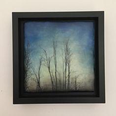 """Nightfall"" 8x8 framed Encaustic artwork"