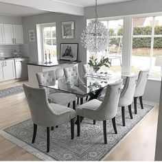Kitchen Living Room Kitchen Living Room SWIPE homebyleno Im offering a special for virtual consults for 50 for 1 room 85 for 2 rooms 120 for 3 rooms 150 for 4 rooms Elegant Dining Room, Luxury Dining Room, Dining Room Lighting, Dining Room Design, Grey Dining Rooms, Dinning Room Ideas, Dining Suites, Living Room Kitchen, Home Decor Kitchen