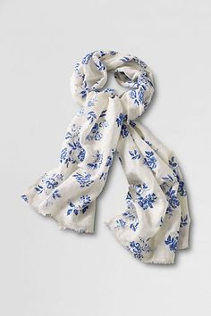 Women's Cotton #Linen Floral #Scarf from #Lands'_End $50