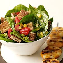 Summertime Panzanella Salad so yummy! Make cornbread with water and egg whites to lower pp value!