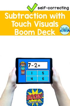 These Subtraction with Touch Visuals Boom digital task cards are perfect for distance learning, especially students in special education or students with autism. Touch Math, Addition And Subtraction, Educational Activities, Special Needs, Task Cards, Special Education, Teacher Pay Teachers, Autism, Distance