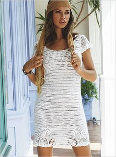 simple short sleeve white crochet dress with lace border details