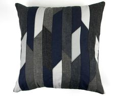 Recycled Pillow Cover Blue Gray 18x18