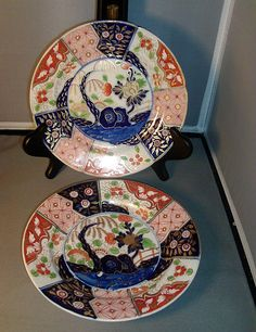 Pair Early 19th c. Coalport Imari Rock and Tree Porcelain Plates