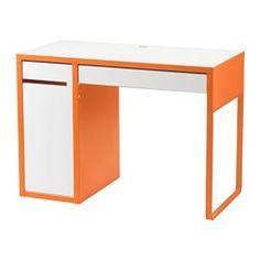 MICKE Desk - white/orange - IKEA