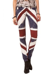 Religion Clothing Jeans Union Jack Skinny In Red,White and Blue.