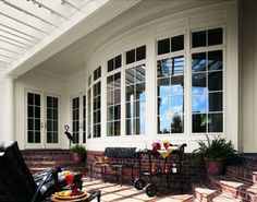 Bow windows extend the beauty outdoors.