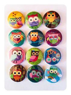 Woodland Owl Pin Badges.
