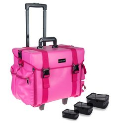 SHANY Makeup Artist Soft Rolling Trolley Cosmetic Case with Free Set of Mesh Bags - Sweetheart * New and awesome product awaits you, Read it now  : Christmas Luggage and Travel Gear