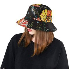 dcd64d2824c11 Amazon.com  Bucket Hat Bird Sitting On Flower Outdoor Travel Sun Protection Hat  Sun