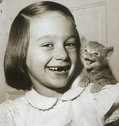 """Two toothless cuties!......HER DADDY IS A DENTIST....HE CAN """"FIX"""" HER UP LATER........HOWEVER, KITTIES DO NOT APPRECIATE THE ART OF DENTISTRY.....ccp"""