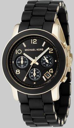 c955b77ca38 Envolvido Ouro Ip Assista Pulseira de aço inoxidável Michael Kors Black