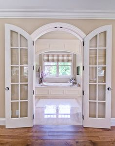 Master Bath Door Idea - Use frosted glass instead of clear?