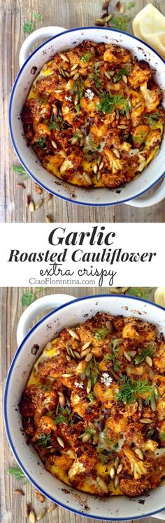 Garlic Roasted Cauliflower Recipe, Extra Crispy from Panko Bread Crumbs and Toasted Pine Nuts or Pumpkin Seeds | CiaoFlorentina.com @CiaoFlorentina