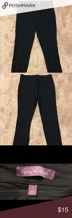Gloria Vanderbilt Pants Selling a gently used Gloria Vanderbilt Pants.  These pants are extremely comfortable and stretchy.  Made from 65% Rayon and 39% Nylon. Measures 36 inches in length.  Size 10P. Gloria Vanderbilt Pants