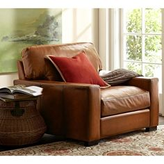 Pottery Barn Turner Square Arm Leather Armchair ($1,499) ❤ liked on Polyvore featuring home, furniture, chairs, accent chairs, pottery barn, leather chair, leather occasional chair, patina furniture and pottery barn furniture