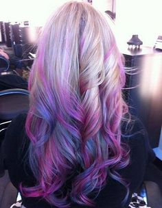 Light Purple, pink & blue ombre hair color with highligh, nice purple hair dye choice