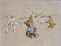 Teddy and Rabbits Washday from DMC counted cross stitch kit. Dmc Cross Stitch Kits, Cross Stitch Baby, Modern Cross Stitch, Cross Stitch Designs, Cross Stitch Patterns, Hand Embroidery Patterns, Diy Embroidery, Cross Stitch Embroidery, Cross Stitching