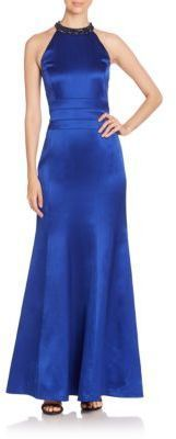 Kay Unger Beaded Halter Gown
