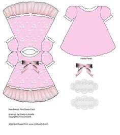 Baby Girl Dress Card on Craftsuprint designed by Lynne Crosskill - Little Pink Lace Dress - Now available for download!