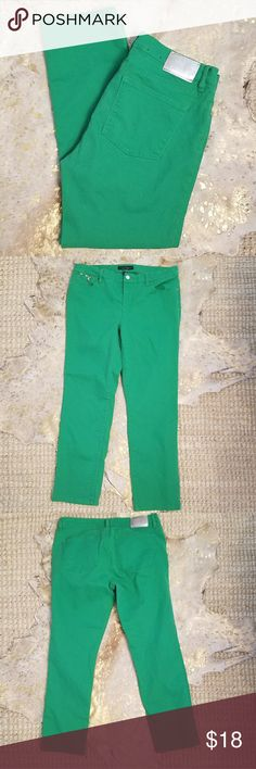 LRL Ralph Lauren Green Jeans Size 14 Great Condition Modern Straight Ankle  Kelly Green Have Stretch! Ralph Lauren Jeans Ankle & Cropped