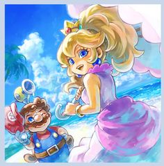 サンシャイン Mario and Peach from Super Mario Sunshine! #nintendo #mario #fanart