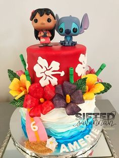Lilo and Stich Birthday Cake idea Disney Desserts, Cute Desserts, Disney Cakes, Disney Food, Lilo And Stitch Cake, Lilo And Stitch Quotes, Lelo And Stitch, Lilo Et Stitch, My Birthday Cake
